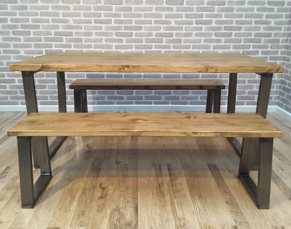 Hoxton u frame rustic industrial wood dining table steel for Kitchen set bekas