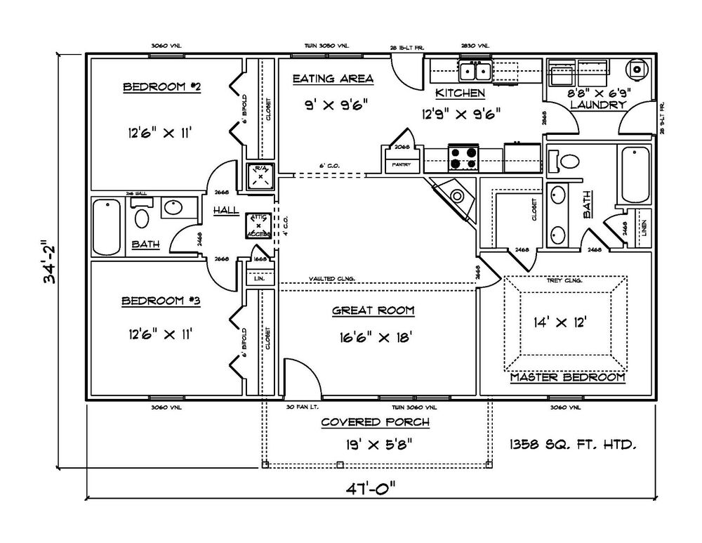 House Plans For 1358 Sq Ft 3 Bedroom House Ebay