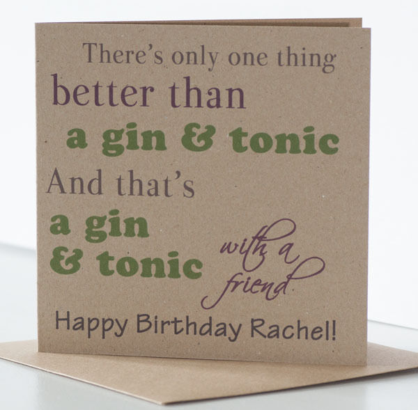 Details About Drinking Birthday Card For A Friend Gin Tonic Themed Personalised With Name