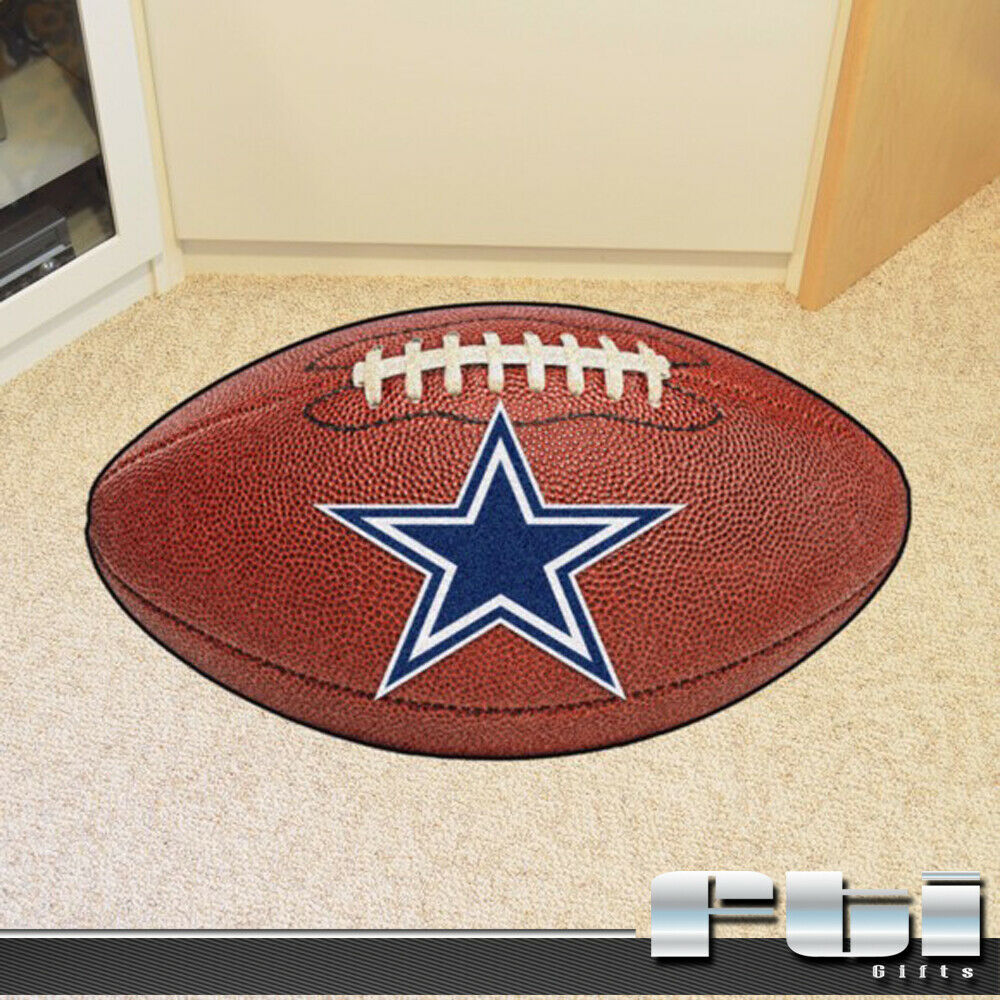 Dallas Cowboys NFL Team Football Shaped Floor Door Mat
