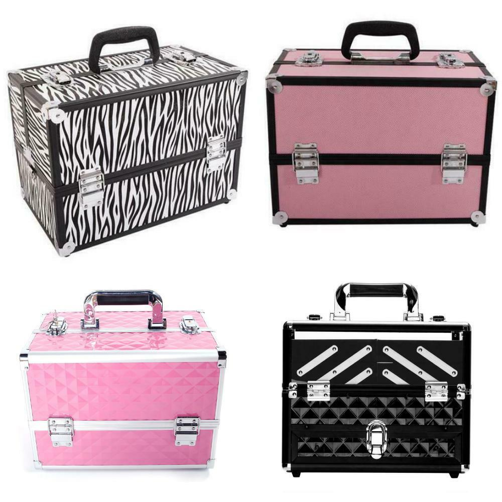 14 39 39 pro aluminum makeup train case jewelry box travel. Black Bedroom Furniture Sets. Home Design Ideas