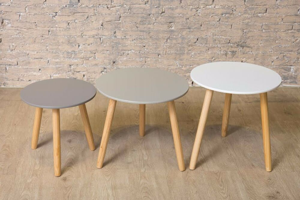 Retro Three Nest Of Tables Wooden Grey White 3 Sizes Coffee Side Table Home Uk Ebay