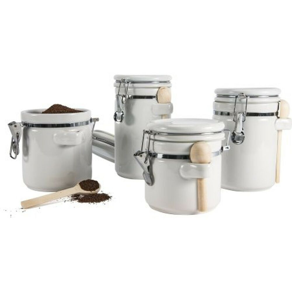 4 piece ceramic canister set kitchen counter storage white for Kitchen counter set