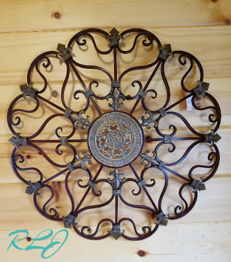 vintage french country circular scroll wrought iron wall grille art rustic decor ebay. Black Bedroom Furniture Sets. Home Design Ideas