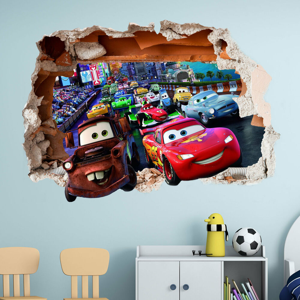 Bedroom Decor Nz Boy Bedroom Cars Brown Leather Bed Bedroom Ideas Small 1 Bedroom Apartment Floor Plans: DISNEY CARS WALL STICKER 3D BOYS GIRLS BEDROOM VINYL WALL