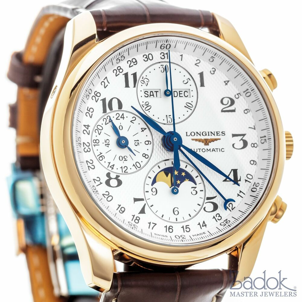 Longines master collection chronograph 18k rose gold calendar watch l26738783 857984256394 ebay for Chronograph master