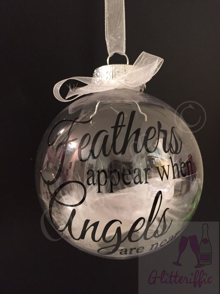 X2 Feathers Appear When Angels Are Near Decal Sticker Diy Bauble Decoration Ebay
