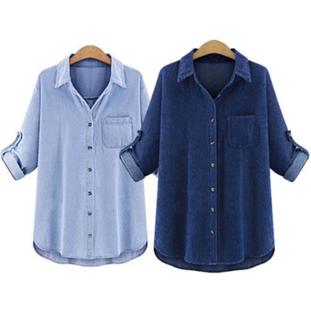 Us retro fashion women casual jeans denim long sleeve for Ladies shirts and tops blouses