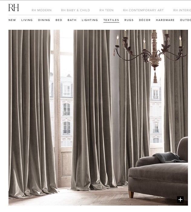 Restoration Hardware Ebay: Restoration Hardware Two Vintage Velvet Rod Pocket Drapes