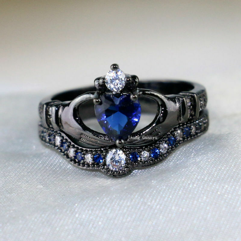 Claddagh Ring Sets Black Gold Filled 1ct Heart Sapphire Cz