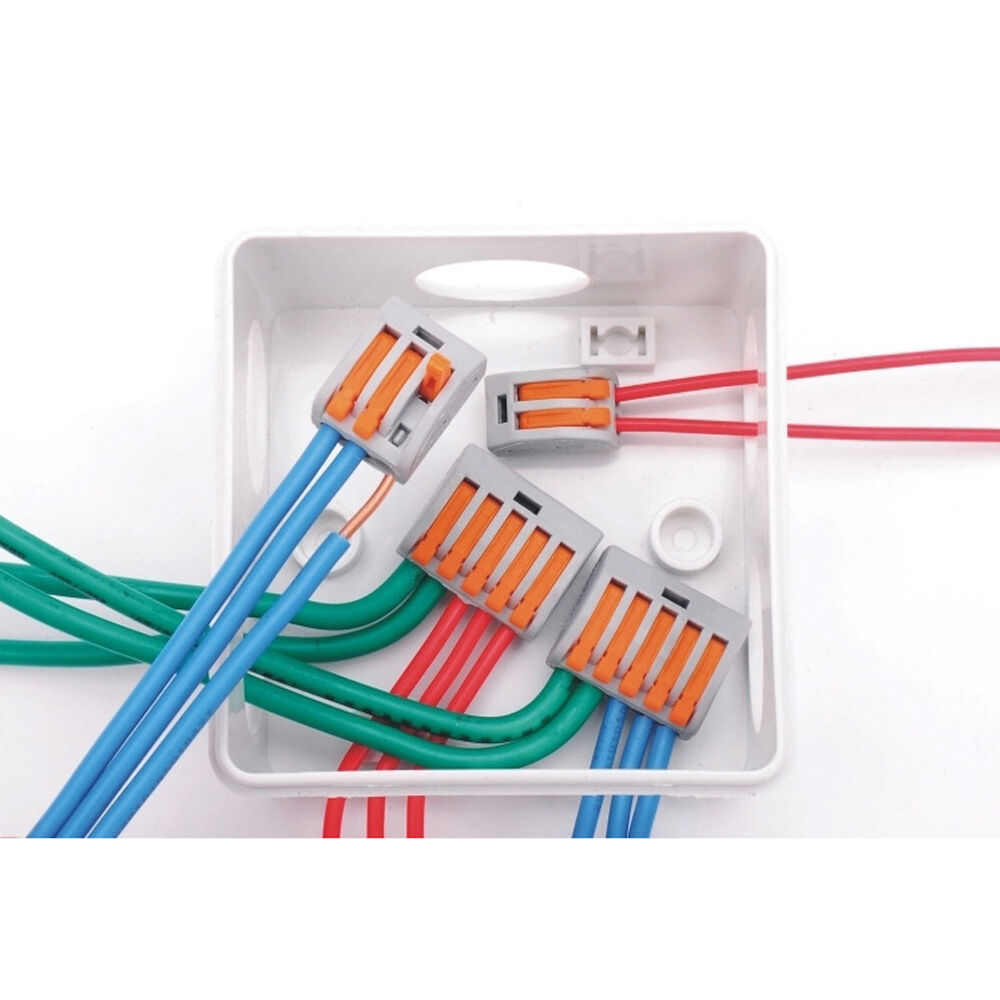 3 Wire Electrical Cable : Pin reusable spring lever terminal block electric