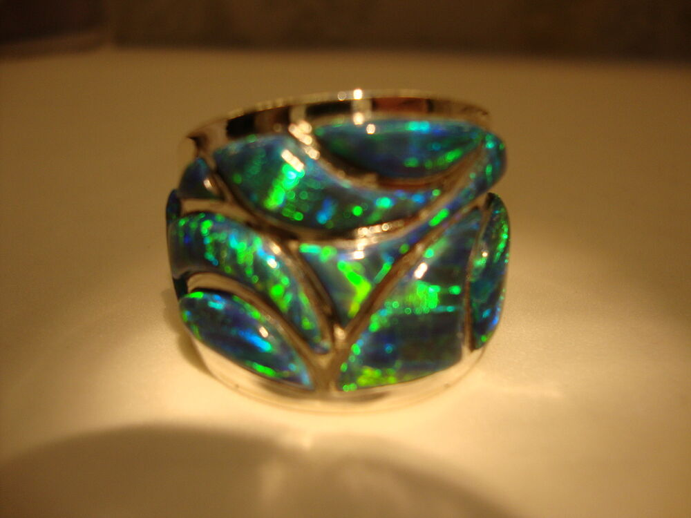 Mens Black Fire Opal Rings