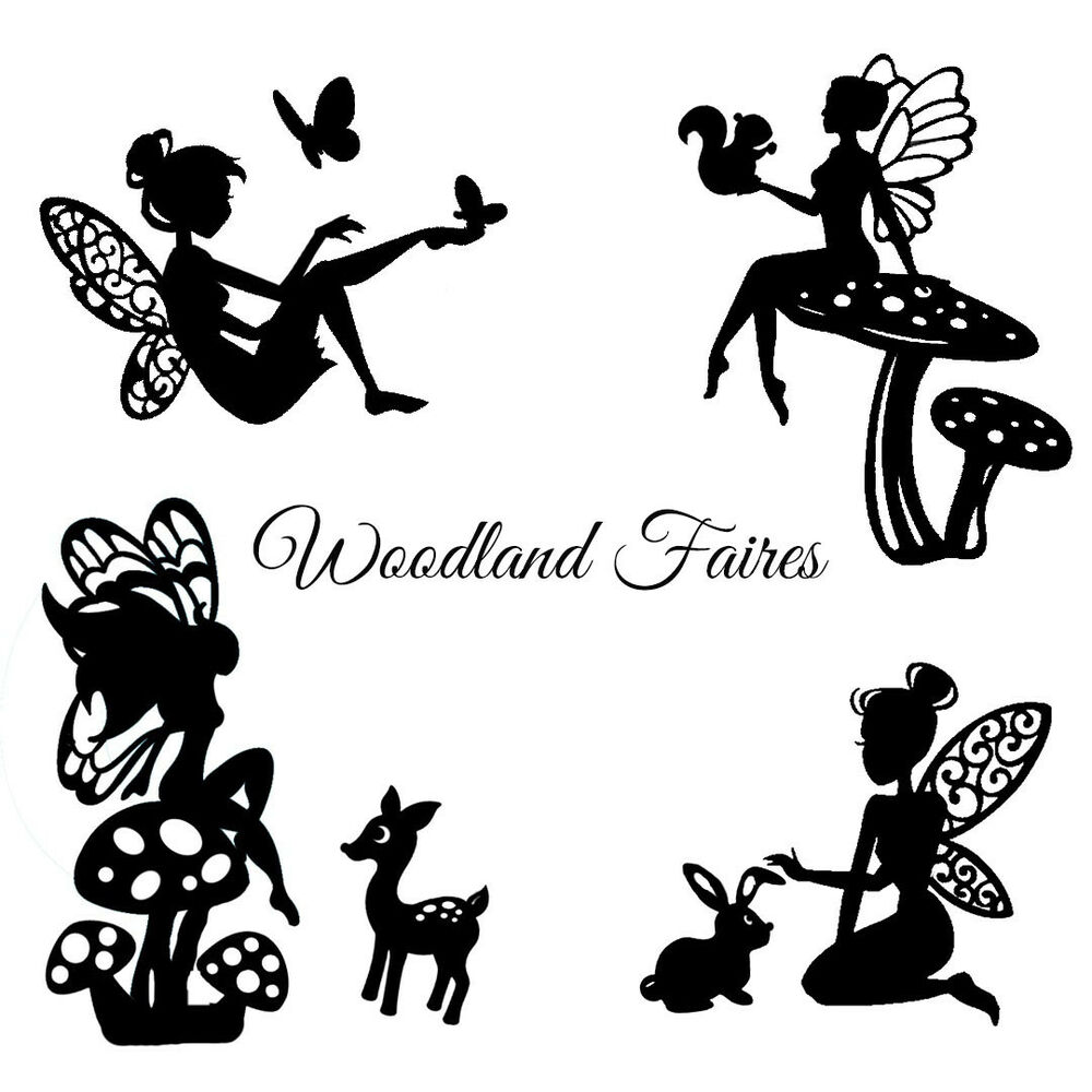 Die cut outs silhouette fairies woodland creatures x 9 for Fairy cut out template
