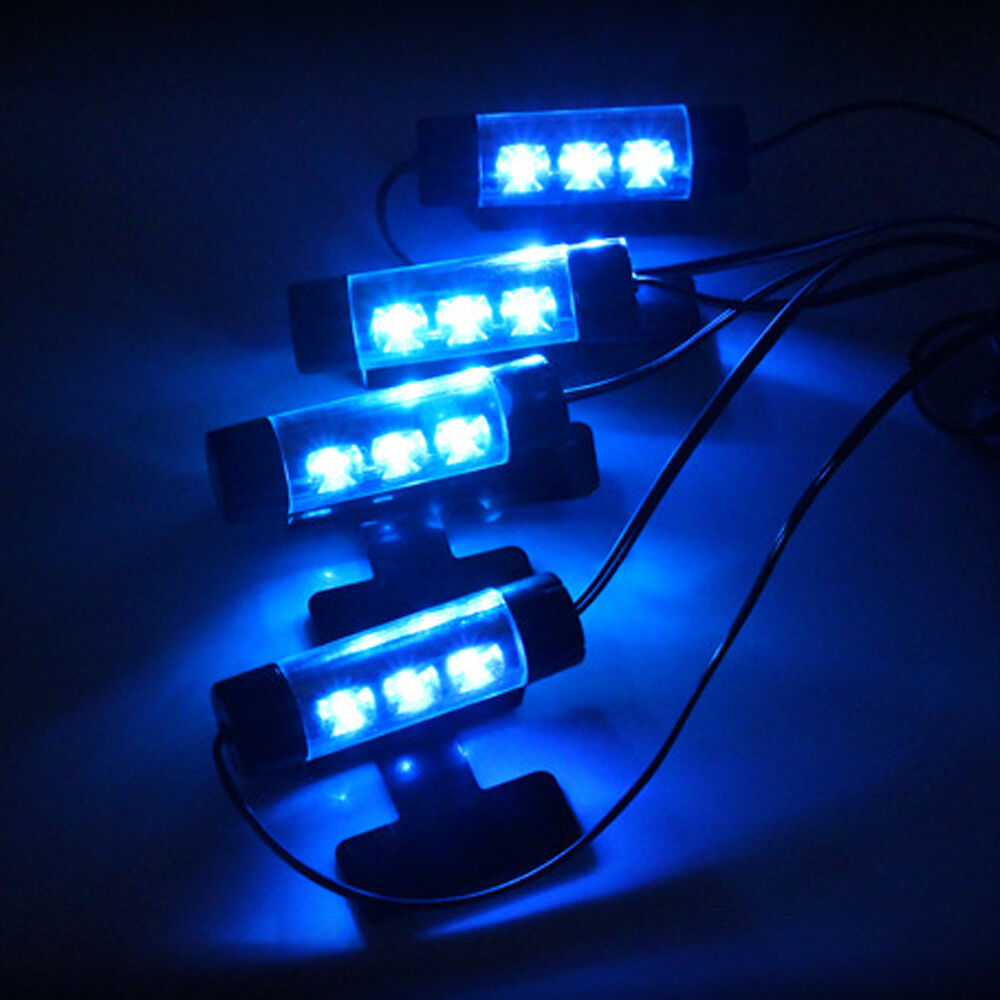 4pc auto car charge interior accessories atmosphere lamp floor decorative light ebay. Black Bedroom Furniture Sets. Home Design Ideas