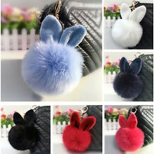 Rabbit Fur Ball/Rabbit Ear PomPom Cell Phone Car Pendant Handbag Key Chain Ring