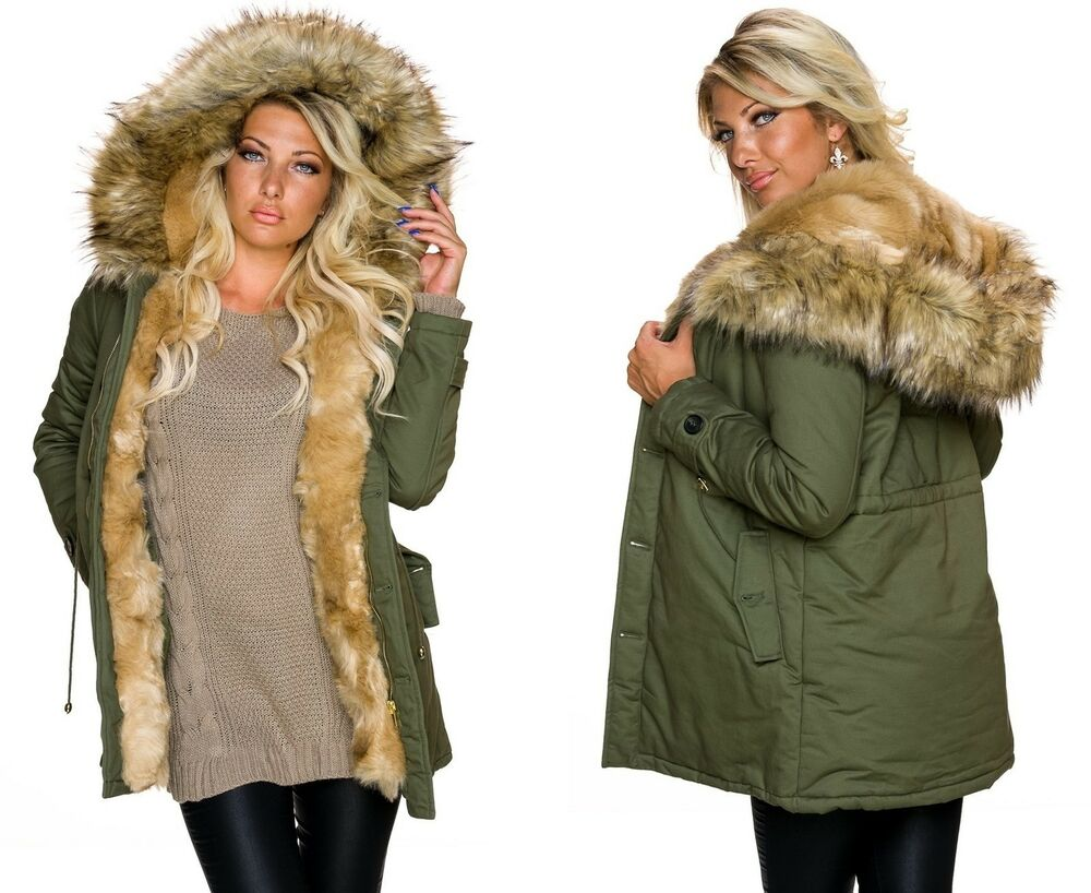damen parka warme winter herbst jacke mantel kunstfell fur kapuze blogger s m ebay. Black Bedroom Furniture Sets. Home Design Ideas