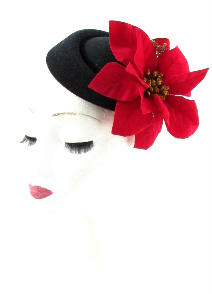 Details about Black Red Gold Poinsettia Christmas Holly Flower Pillbox Hat  Fascinator Hair 939 43b83aa29be