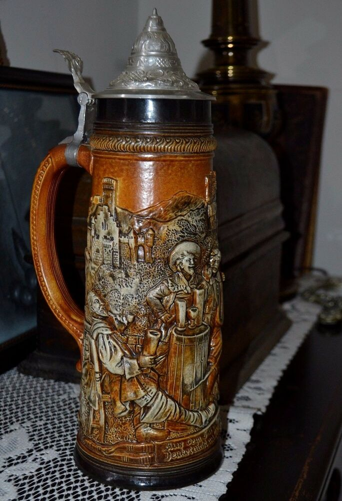 Antique Gerz West Germany Pewter Lidded Beer Stein-Vintage ... |Vintage West Germany Beer Steins