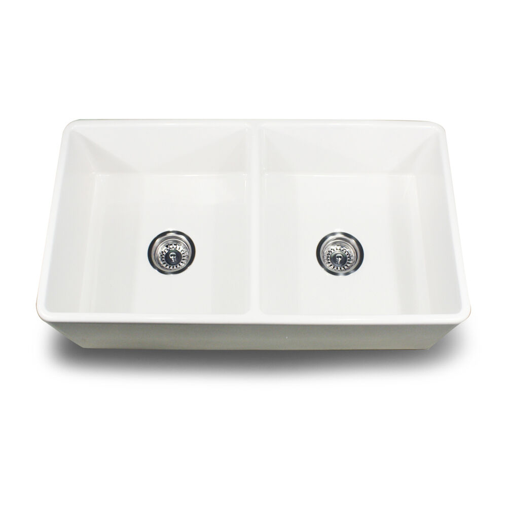 "Apron Sink Vintage Apron And Custom: Fireclay Double Bowl 33"" Apron Front Farmhouse Sink White"