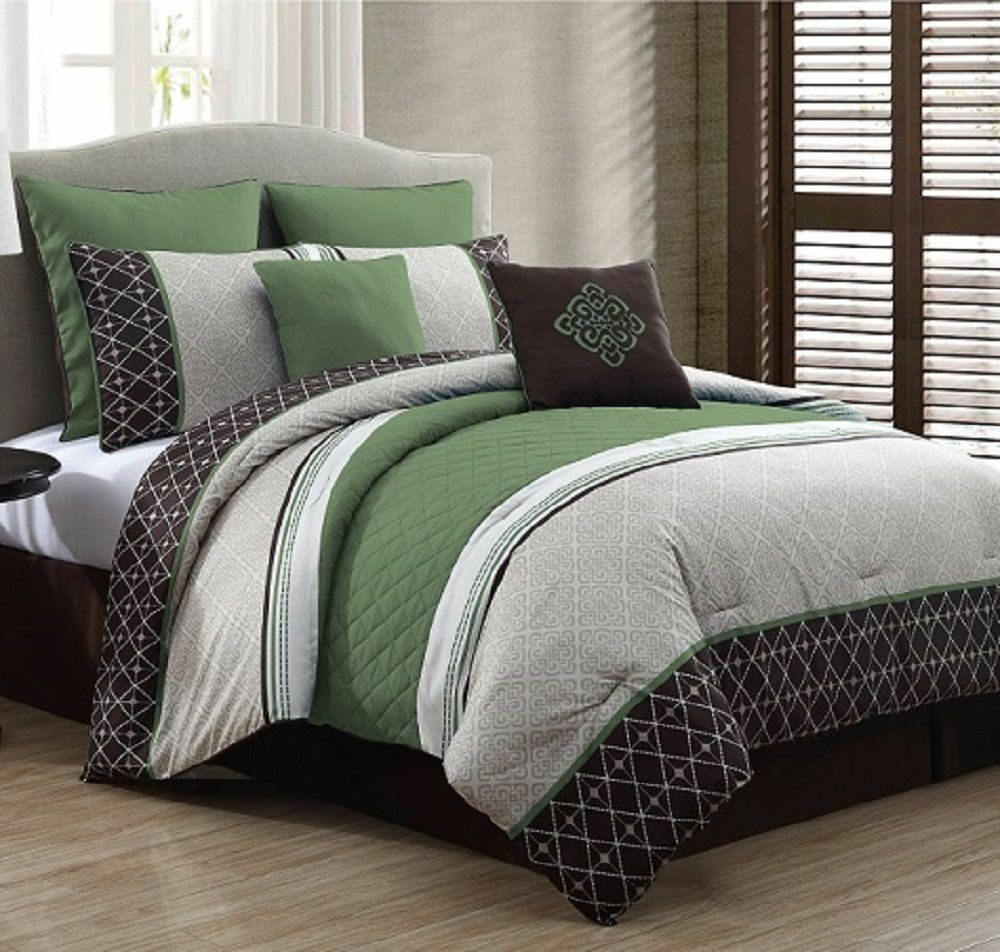 luxurious queen size bed in a bag 8 piece comforter set bedroom bedding green ebay. Black Bedroom Furniture Sets. Home Design Ideas