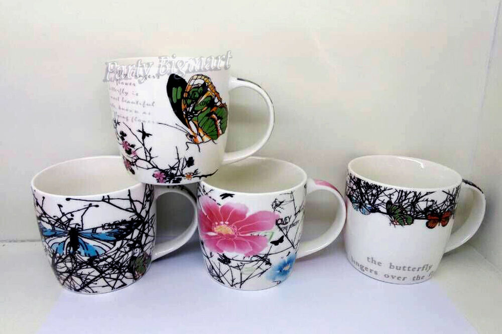 Coffee mugs set of 4 butterfly designs tea cup bone china for Cool tea cup designs