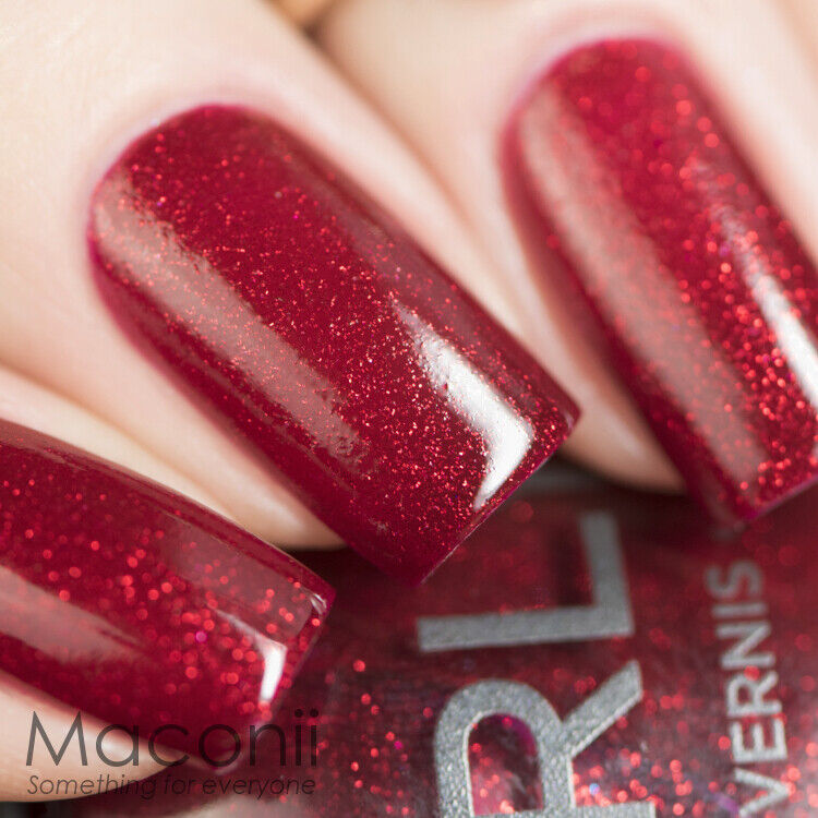 Shimmer And Sparkle Nail Polish: Red Shimmer Glitter Nail Polish