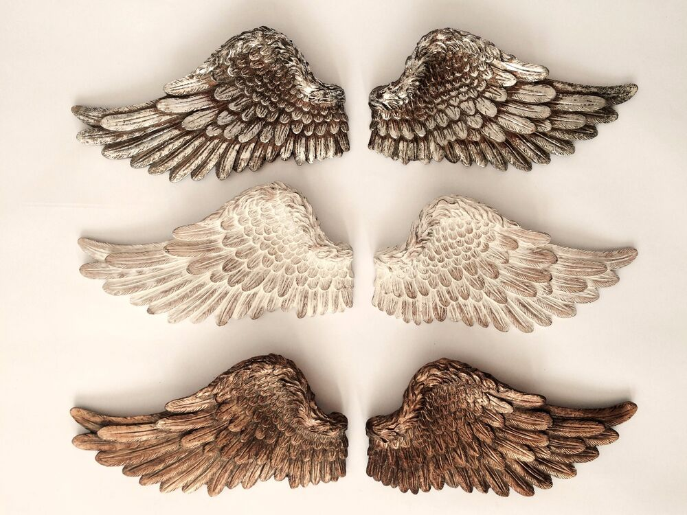 Pair of angel wings ornate vintage shabby cherub wall art for Angel wings wall decoration uk