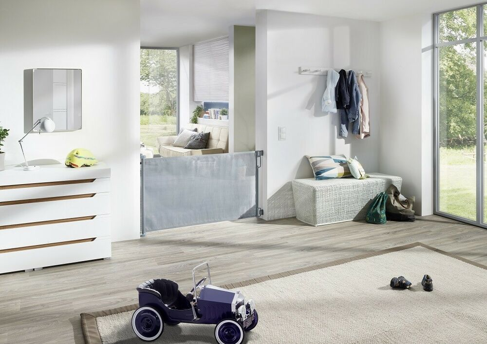 impag rollo t r und treppenschutzgitter h he 85 cm einrollbar 50 140 wei ebay. Black Bedroom Furniture Sets. Home Design Ideas