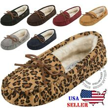 Women's Moccasins Slip On Indoor Outdoor Shoe Slipper Fur Loafer [FREE SHIPPING]