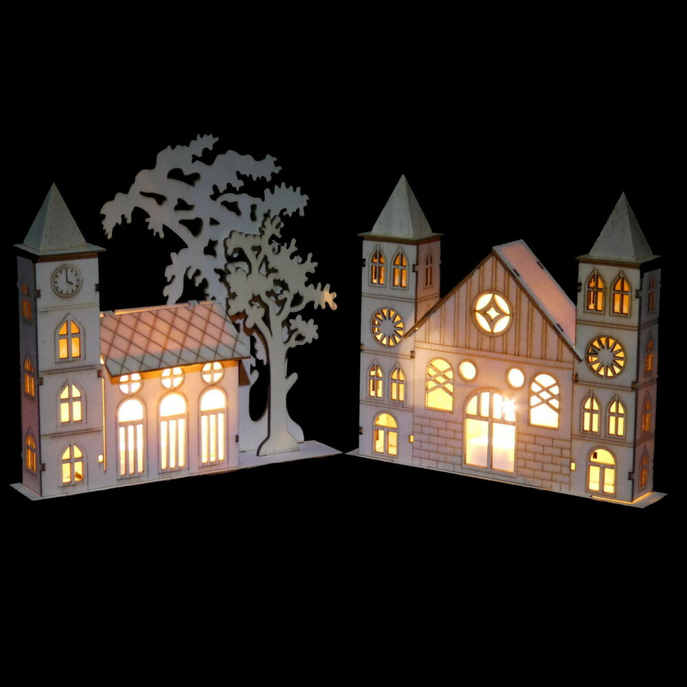 led fensterdeko kirche weihnachten deko weihnachtsdeko fensterdeko holz licht ebay. Black Bedroom Furniture Sets. Home Design Ideas