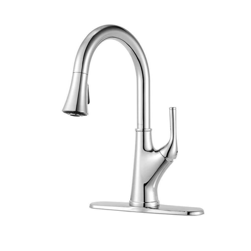 Single Handle Pull Down Sprayer Kitchen Faucet In Chrome Home