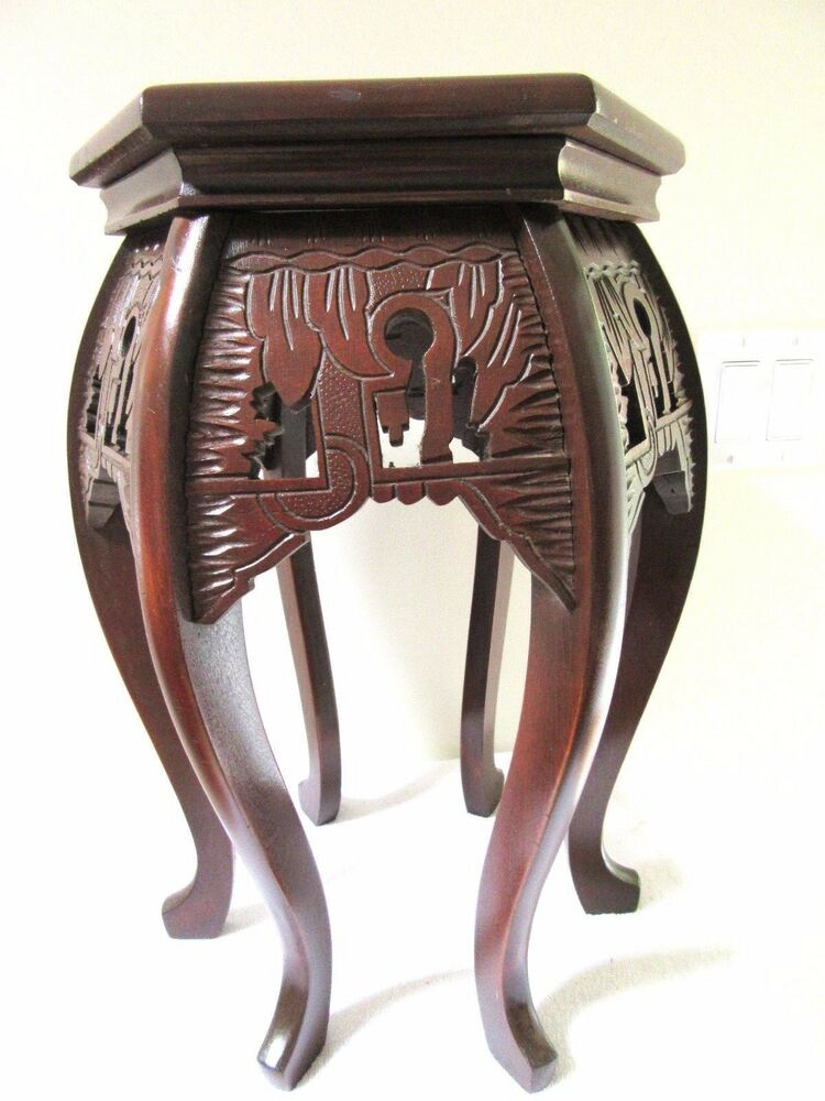 Antique Chinese 6 Sided Table Stand Carved Wood 1900 Asian