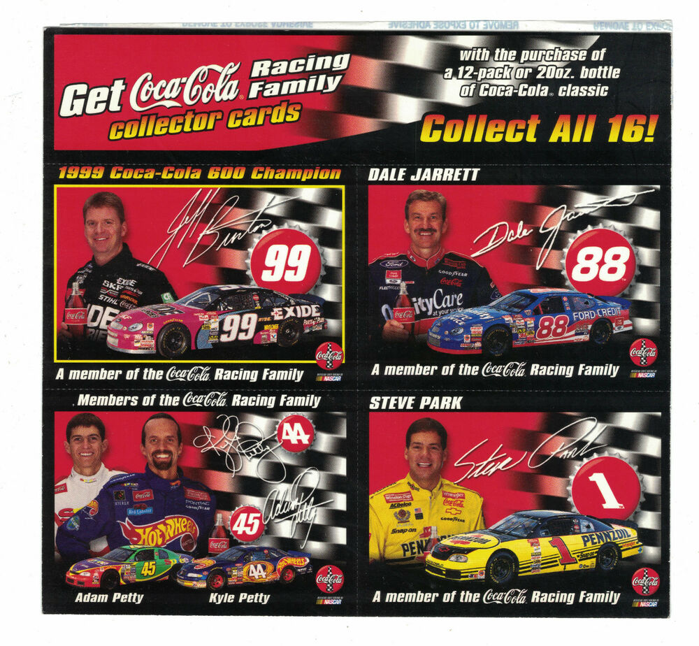 2000 Coca-Cola NASCAR 4 Card Panel Adam & Kyle Petty Dale