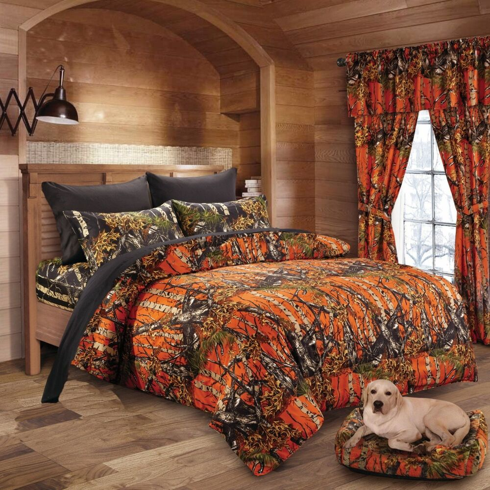 7 Pc Orange Camo Comforter And Black Sheet Set Full Bed In