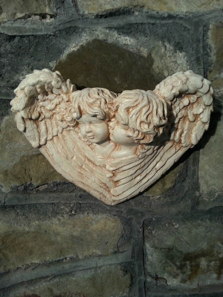 Architectural ornate plaster cherub angel wings wall decor for Angel wings wall decoration uk