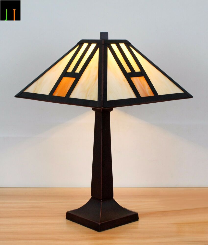 Tiffany White Mission Style Stained Glass Table Lamps