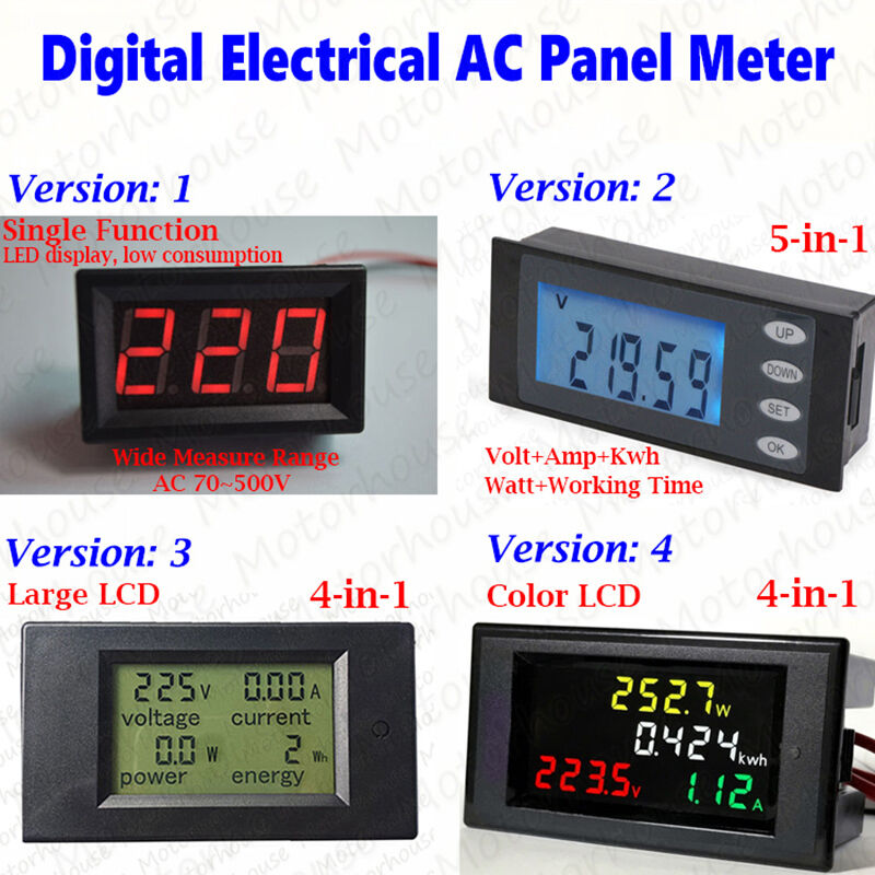 Lcd Panel Meter : Ac v digital lcd panel power meter monitor