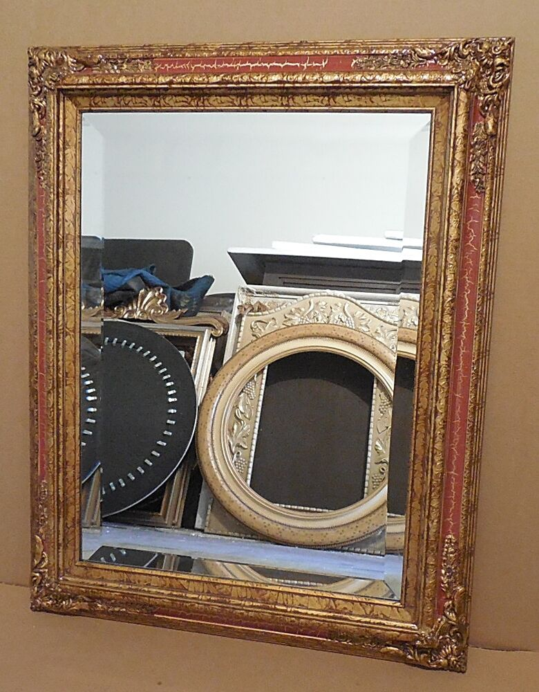 Large solid wood 24x30 rectangle beveled framed wall for Large wall mirror wood frame