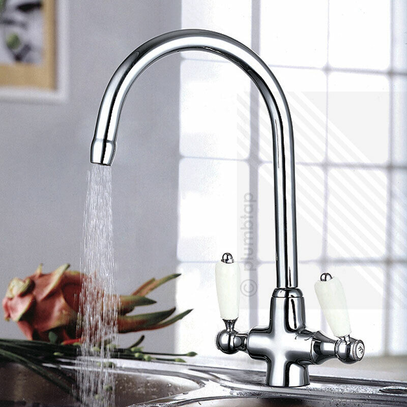 Edwardian Kitchen Sink: TRADITIONAL Victorian Kitchen Sink Mixer Tap Chrome Swivel