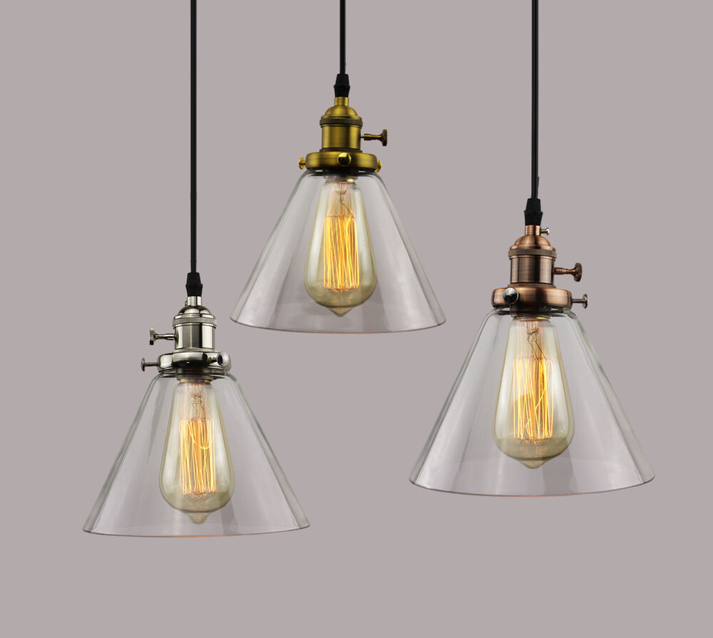 Industrial RETRO Vintage Glass Triangle Shade Pendant
