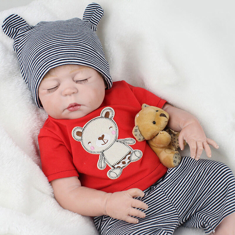 22 Quot Full Body Silicone Reborn Sleeping Boy Doll Soft Vinyl