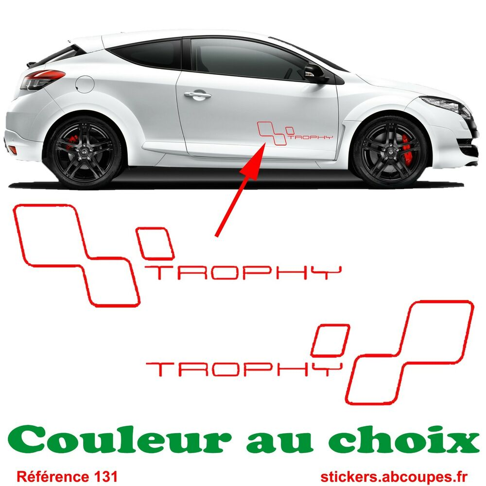 kit stickers trophy bas de caisse clio rs gt megane decals renault sport 131 ebay. Black Bedroom Furniture Sets. Home Design Ideas