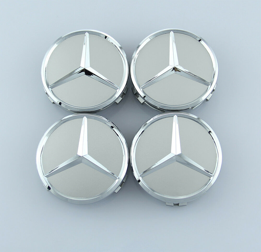 4pcs 75mm silver mercedes benz car sticker emblem wheel for Mercedes benz wheel cap emblem