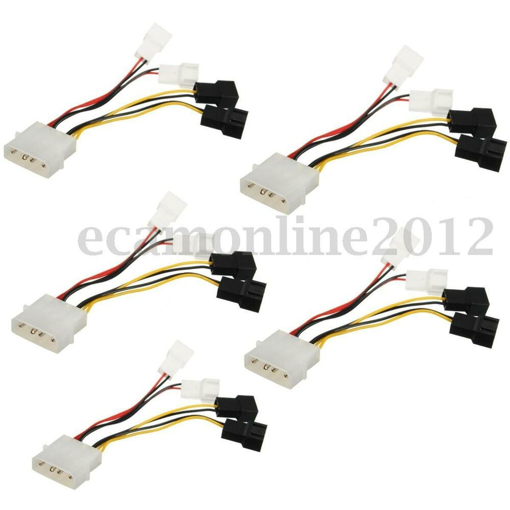 5pcs 2pin To D Type 4pin Molex Power Y Splitter Cable Cord