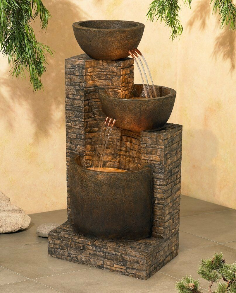 Water Fountain Outdoor Indoor Floor 2 Basins Portable Crafted Polynesian Ebay