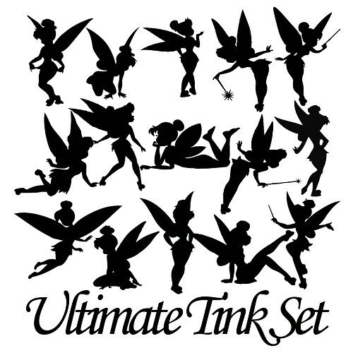 Die cut outs silhouette fairy shapes x 15 tinkerbell for Fairy cut out template
