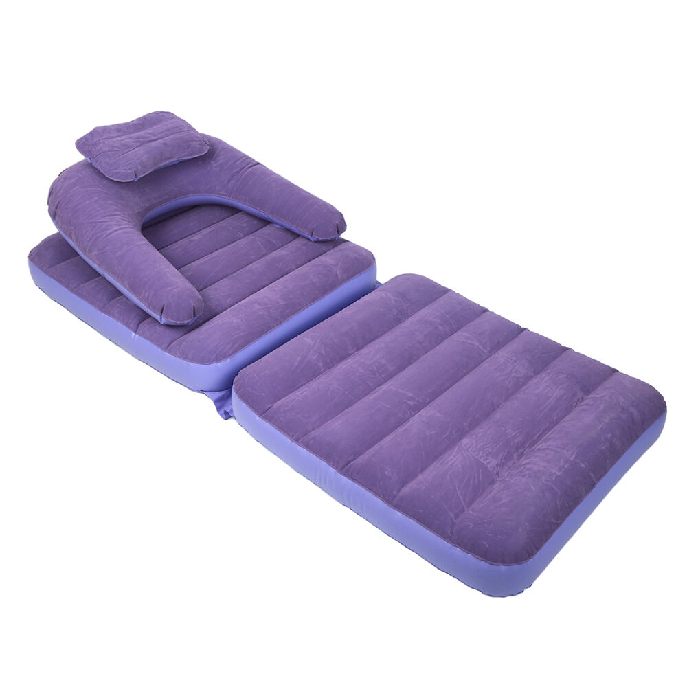 Inflatable Pull Out Sofa Couch Single Lounger Air Bed Mattress Sleeper Purple Ebay
