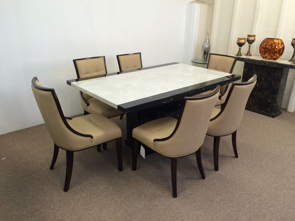 Marble dining table and 6 chairs grand designs for Six chair dining table set