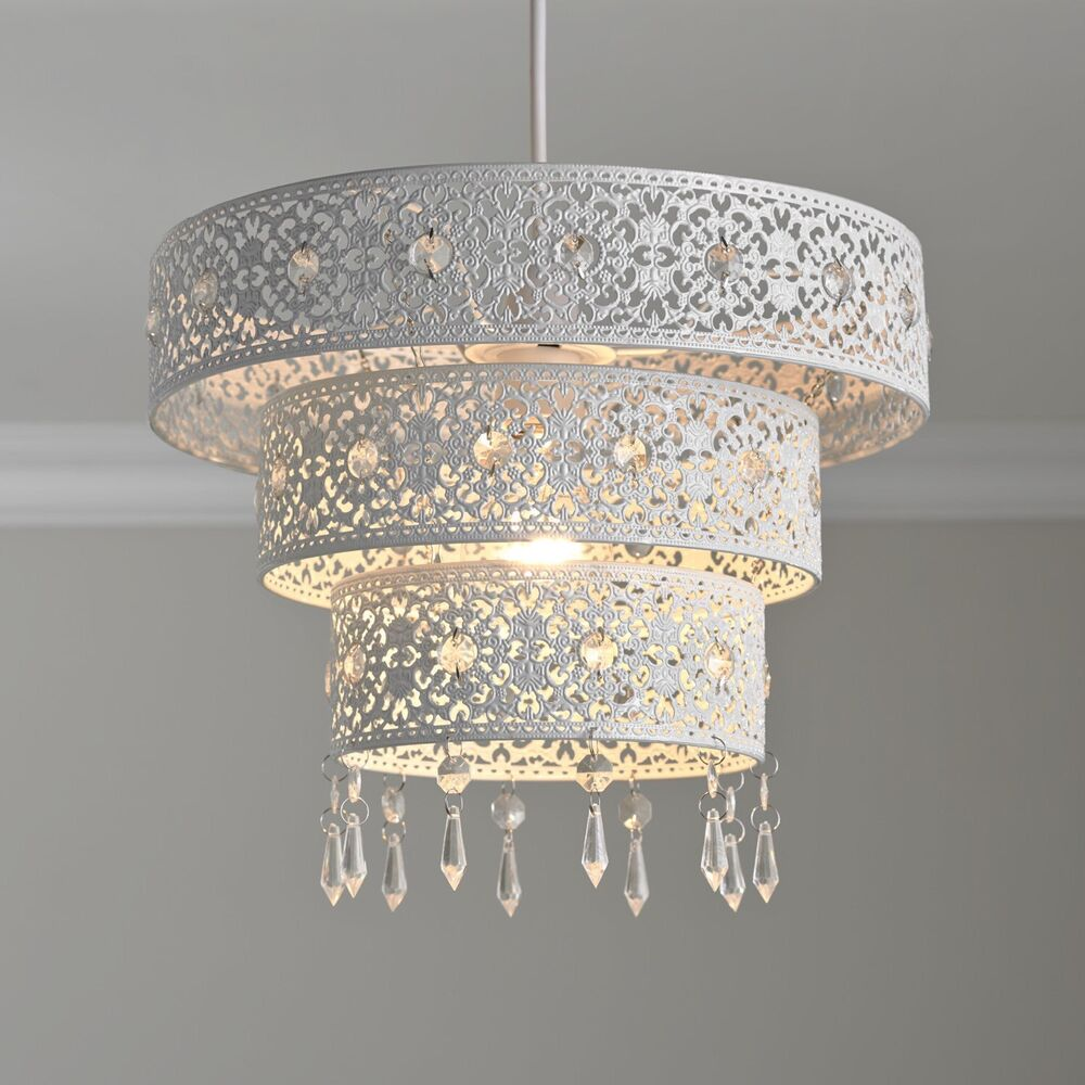 NEW LARGE Three Tier White Floral Cut Out LIGHTSHADE LIGHT