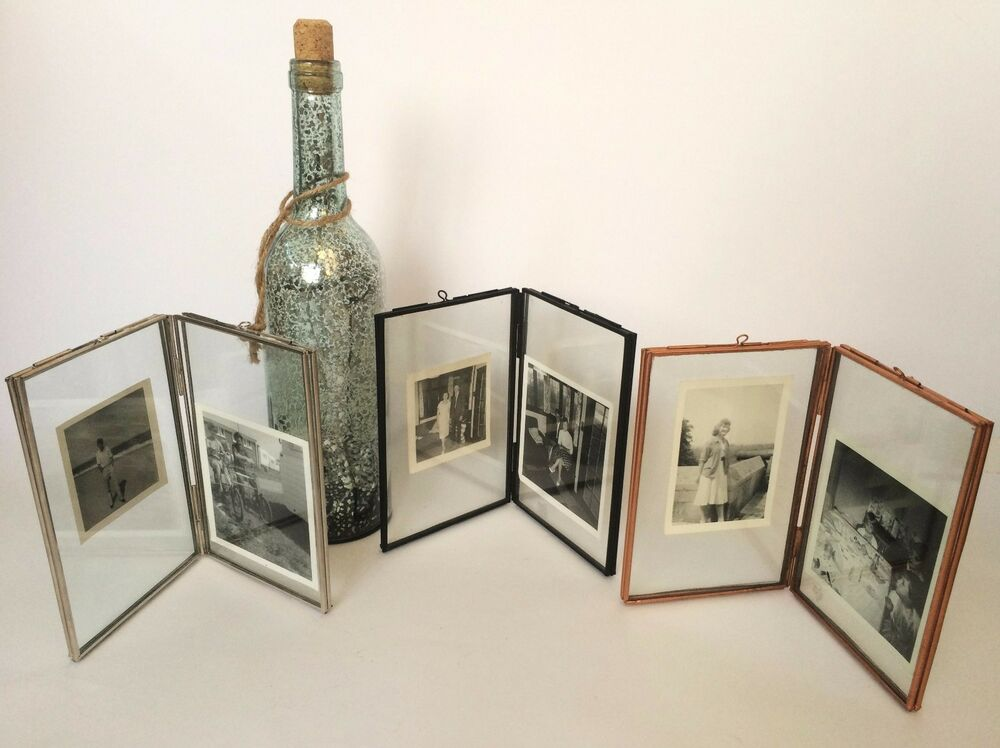 double sided glass metal photo picture frame vintage style 6 x 4 or 7 x 5 ebay. Black Bedroom Furniture Sets. Home Design Ideas